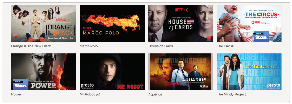 Orange Is The New Black, Marco Polo, House of Cards, The Circus, Power, Mr Robot S2, Aquarius, The Mindy Project